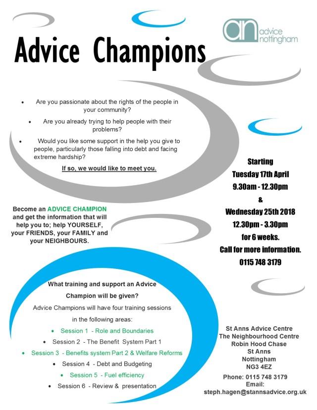 Advice Champion Flyer April 2018